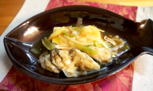 深谷ねぎ 牡蠣と豆腐のねぎあんかけ